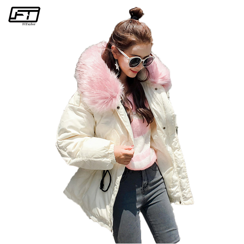 Fitaylor Hooded Big Fur Black Cotton Parka Mujer 2017 Casual Loose Winter Jacket Women Thick Warm Coat Female Padded Overcoats fitaylor winter coat women jacket hooded thick casual cotton padded black parka mujer warm slim plus size female jacker