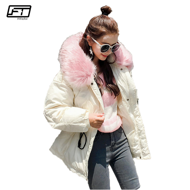 Fitaylor Hooded Big Fur Black Cotton Parka Mujer 2017 Casual Loose ...