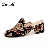 Eiswelt New 2017 Fashion Retro Women Shoes Medium Heels Shoes Square Toe Women Pumps Embroidery Crystal