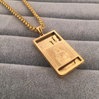 Iced Out Stainless Steel Gold Plated Micro Virgin Mary Square Charm Dog Tag Pendant Necklace Fashion