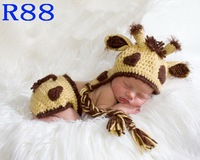 Free Shipping Handcrafted Crochet Baby Boy Hat With Diaper Cover Sets Newborn Giraffe Hat Baby Photo