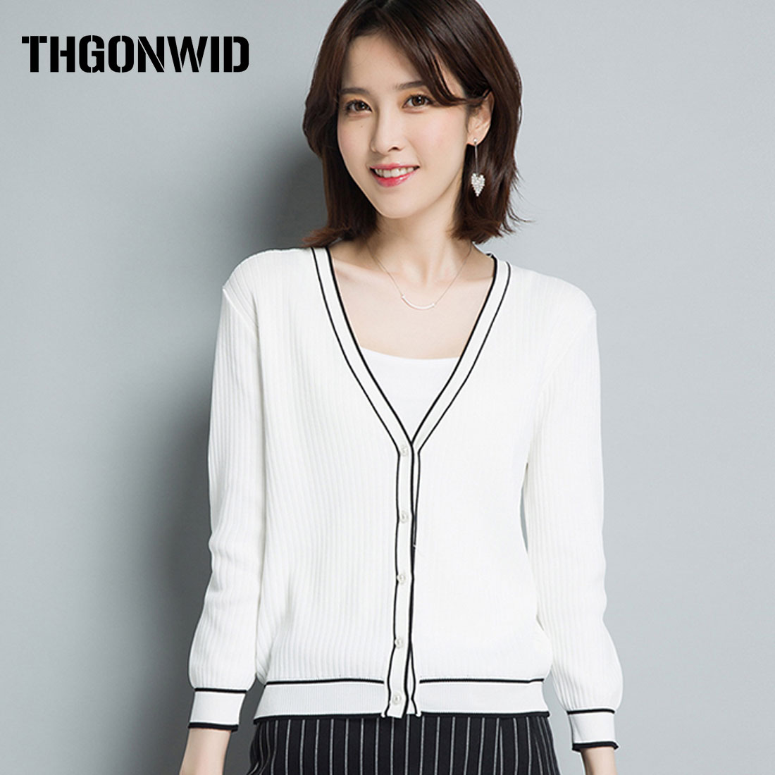 New Sweater Women Cardigan Knitted Coat Crochet Female Casual Spring Autumn Woman Cardigans Wool Tops Stripe Edge Pull Femme