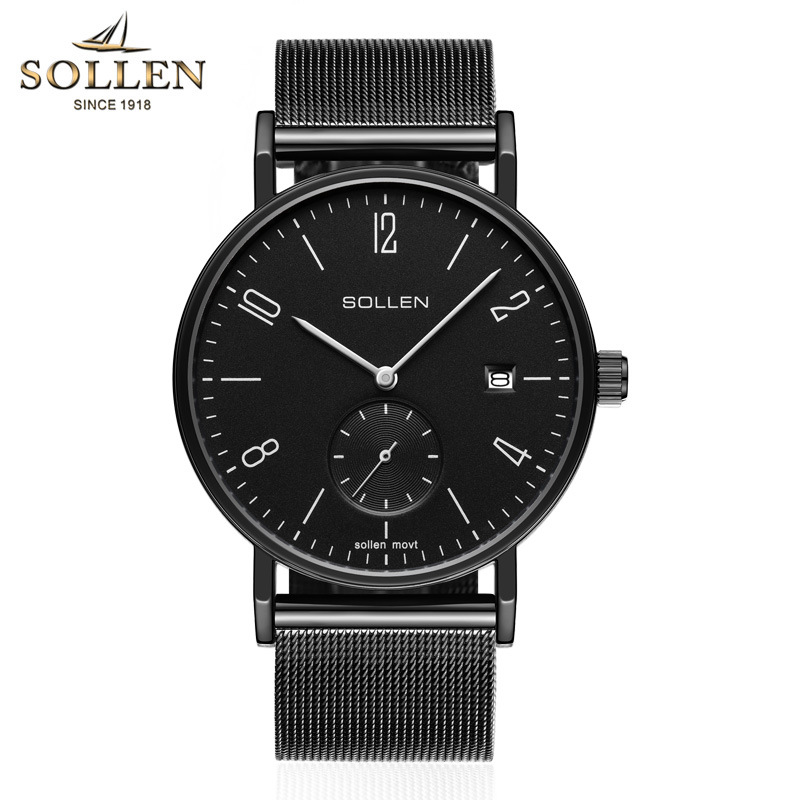 SOLLEN Luxury Brand Quartz Watch Men's Casual Business Stainless Steel Mesh band Quartz-Watch Fashion Thin Clock male Date New