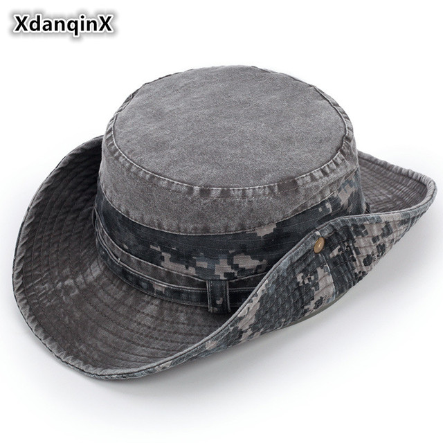 16cd12738104df XdanqinX Men's Flat Cap Summer Retro Denim Cotton Bucket Hat Men Fashion  Wind Rope Fixed Dad's Visor Hats New Style Fishing Hat