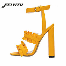 FeiYiTu  New Women Sandals Woman Summer Style Bohemia High-Heel Vintage Flowers Pumps Sexy Shoes Plus Size 34-43