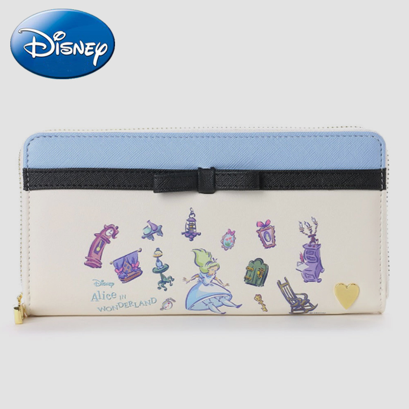 Disney Genuine ALice Women Long Clutch-Wallet Large Capacity Wallets Girls Female Purse-Money Bags Lady Phone Pocket Card-Holder
