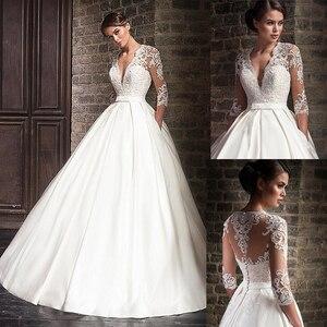 Image 1 - Кружевное атласное свадебное платье с аппликацией, белое привлекательное бальное платье с V образным вырезом, пуговицами сзади и полурукавами, 2020