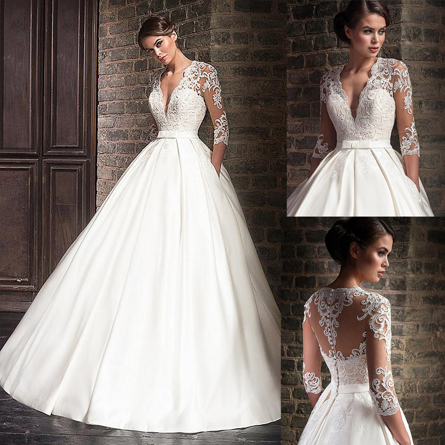 2019 Lace Applique White Satin Wedding Dress Sexy V Neck Ball Gown Buttons Back Half Sleeves Bridal Dress vestidos de formatura-in Wedding Dresses from Weddings & Events