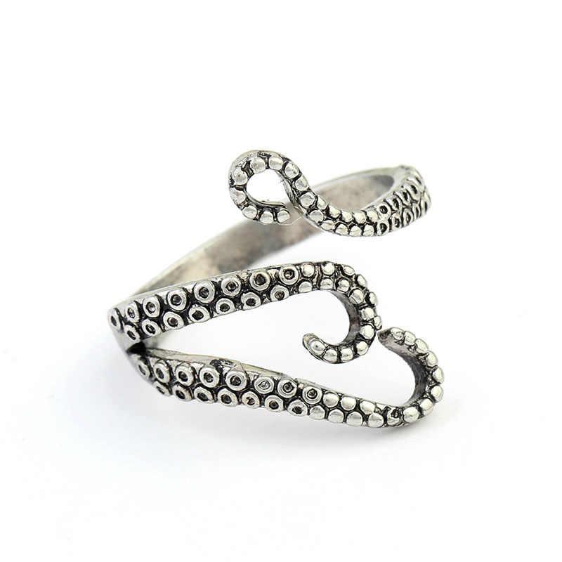 1PC Vendita Calda King Metallo di Alta Qualità del Regalo D'acciaio di titanio Punk Octopus Unisex Octopus Anello di Apertura Regolabile