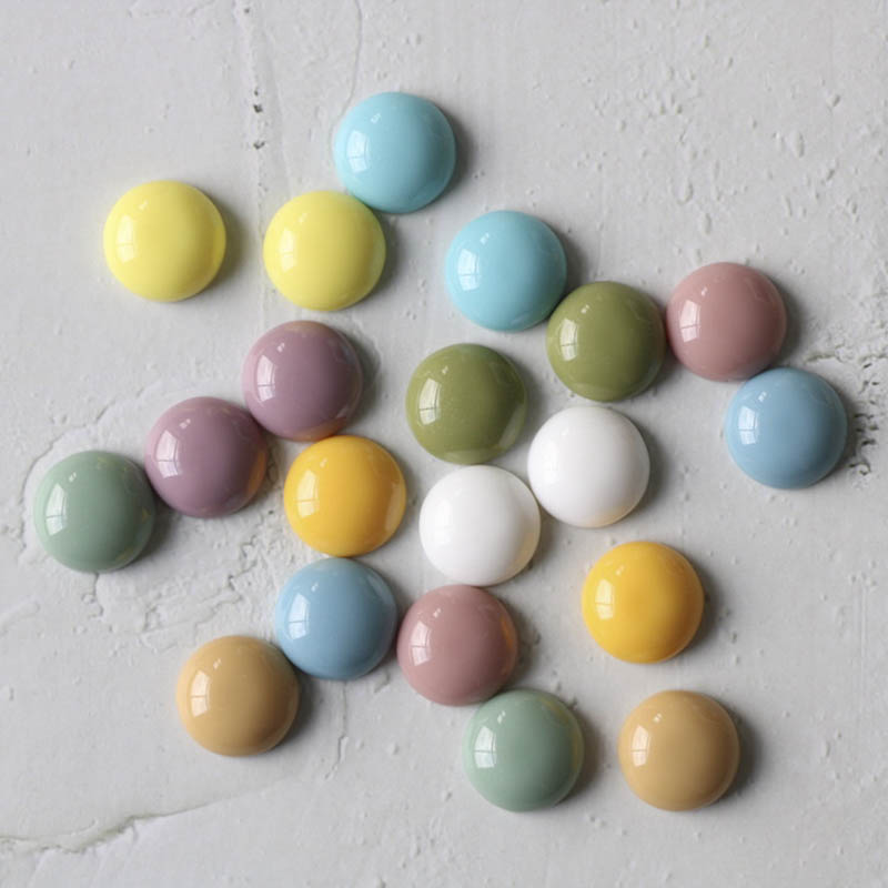 10pcs Resin Cabochon 14mm Candy Color Cameo Patch Flat Back Fit Stud Earrings/Hairpin Accessories For Diy Jewelry Making Finding