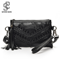 SEVEN SKIN Brand Women Fashion Party Day Clutch Original Design Messenger Bag Genuine Leather Patchwork Bags