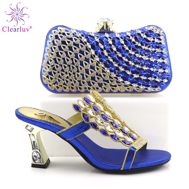Buckle Blue Nigerian Party Shoe and Bag Sets Decorated with Rhinestone  African Wedding Shoe and Bag Set Party Shoes and Bag 7db4b38f3f96