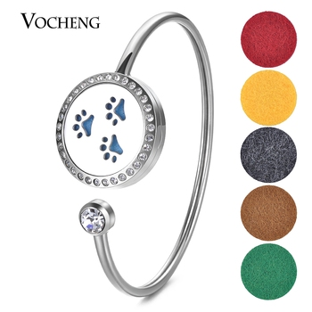 10pcs/lot 25mm Essential Oil Diffuse Locket 316L Stainless Steel Bangle Fit 18mm Felt Pad Crystal Magnet with Oil Pad VA-588*10