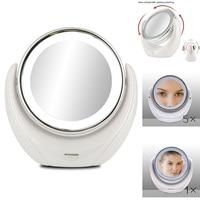 Косметическое зеркало с 5х увеличением и подсветкой