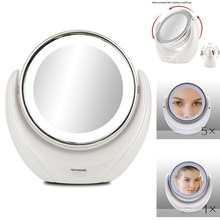 Makeup Mirror 5X Magnifying Double side with 10 LED Lightbulbs for Cosmetic & Skin Care, Polished Chrome