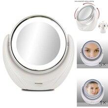 Miroir de maquillage grossissant 5X Double face avec 10 LED ampoules lumineuses, pour les soins cosmétiques et de la peau, Chrome poli
