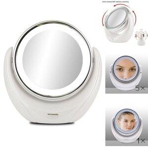 Image 1 - Miroir de maquillage grossissant 5X Double face avec 10 LED ampoules lumineuses, pour les soins cosmétiques et de la peau, Chrome poli