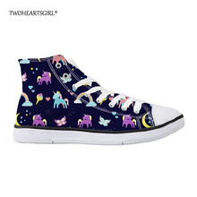 hot deal buy twoheartsgirl cute women's vulcanize shoes classic cartoon unicorn high top canvas shoes personalized lace up flat walking shoes