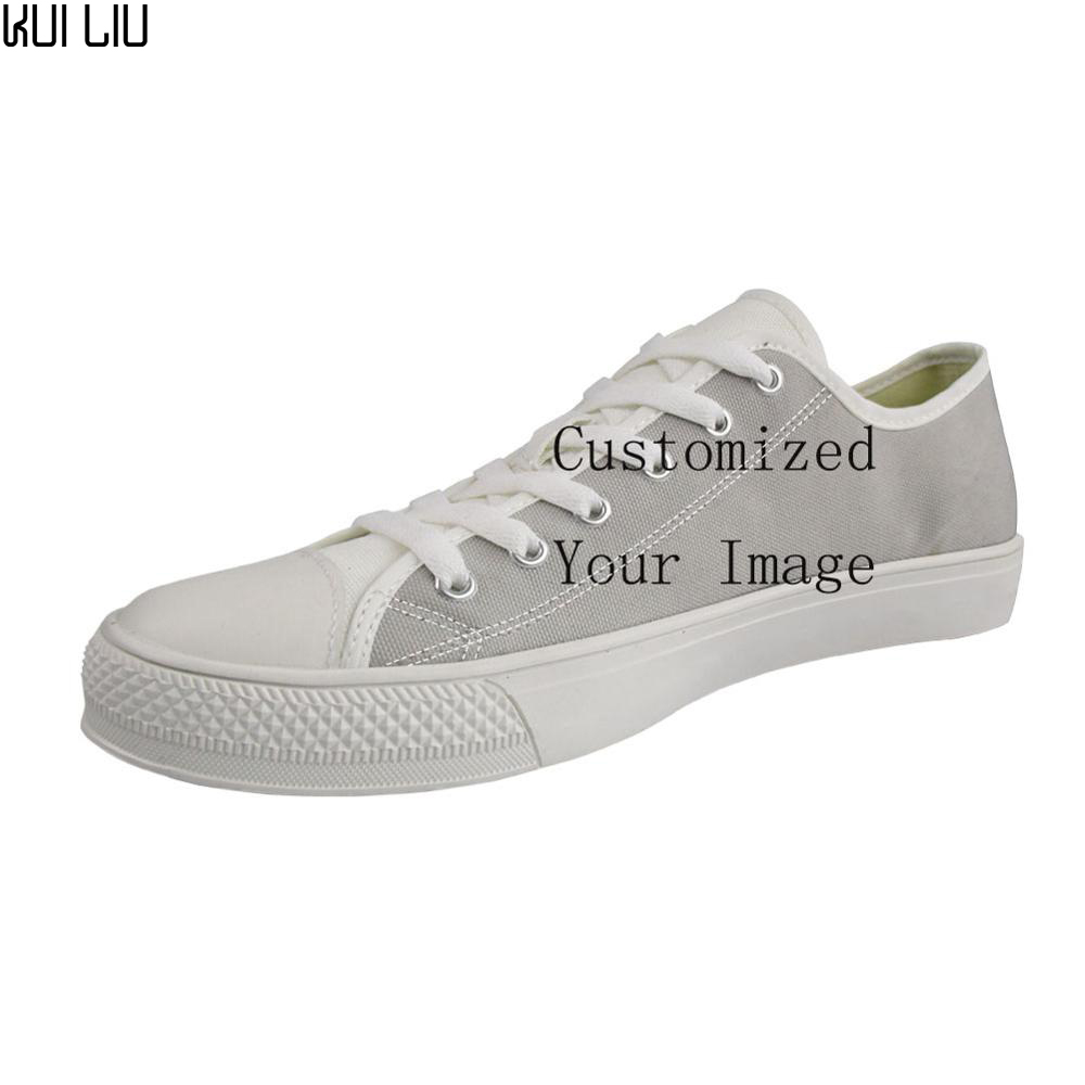 Sneakers Women Customized Shoes Flats Lace-Up Canvas Classic Female White Designer Casual