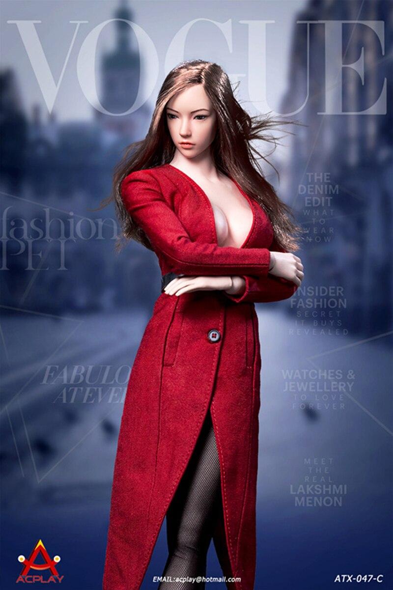 """ACPLAY ATX047B 1//6 Deep V-Neck Coat Clothing Shoes Fit 12/"""" Female Figure Dolls"""