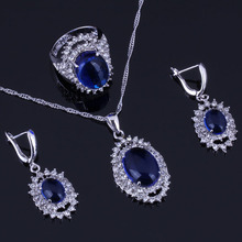 Sparkling Huge Oval Blue Cubic Zirconia White CZ 925 Sterling Silver Jewelry Sets For Women Earrings Pendant Chain Ring V0268 trendy water drop blue cubic zirconia white cz 925 sterling silver jewelry sets for women earrings pendant necklace bracelet