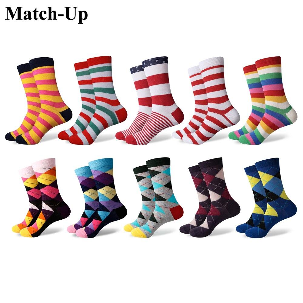 10 Paare/los Spiel-up Männer Bunte Gekämmte Baumwolle Socken Lustige Gestreiften Dot Multi Set Kleid Casual Crew Socken Noch Nicht VulgäR