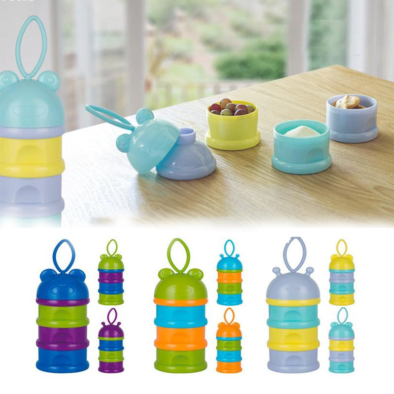 Powder Dispenser Bottle 1 Set 3 Layer Portable Container Infant Snack Food Milk Feeding Baby Travel Storage Box Products Q2