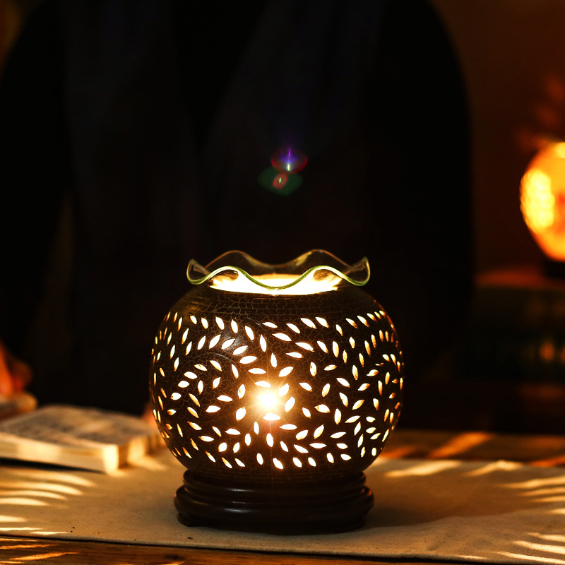 220V Ceramic Aroma Lamp Electric Dimming Oil Burner Goldfish Incense Burners Home Essential Oil Diffuser Romantic Fragrance Lamp 5