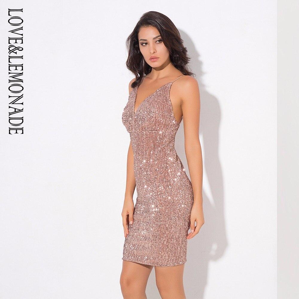 Love Lemonade Deep V Neck Rose Gold Elastic Sequins Halter Dress LM0363-in  Dresses from Women s Clothing on Aliexpress.com  dc17579d223a