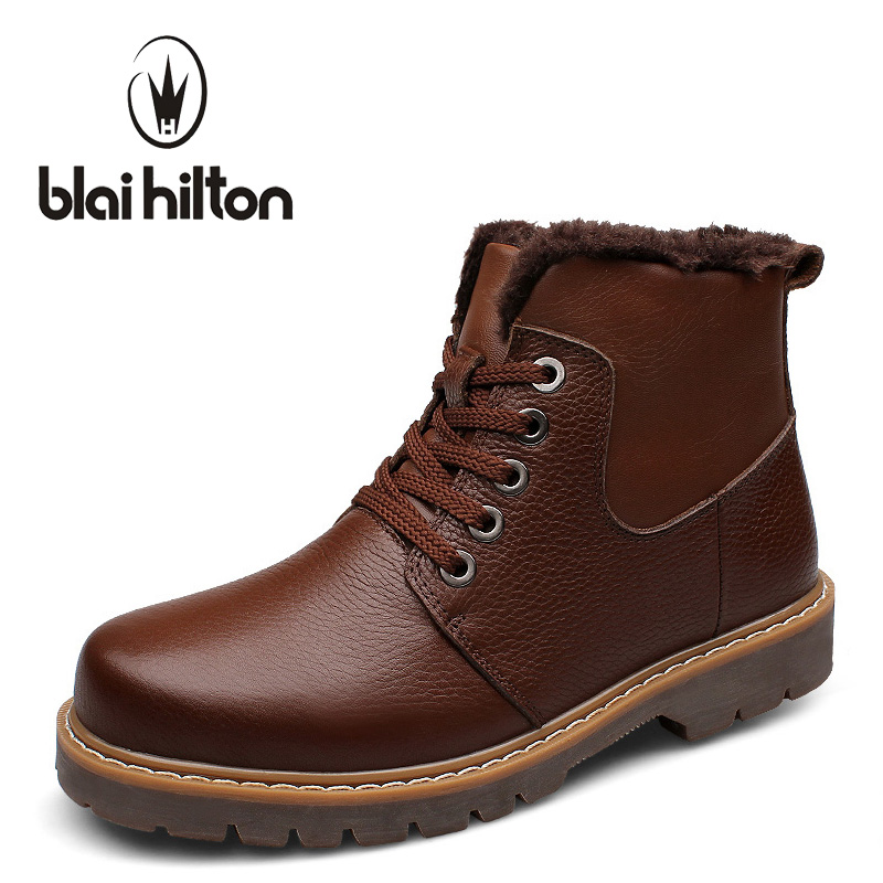 Blaibilton Brand 100% Genuine Leather Snow Boots Men Shoes Winter Warm Faux Fur Velvet Cow Military Motocycle Boot Male SD0268 muhuisen brand genuine leather snow boots men casual shoes winter warm plush fur cow leather male ankle boot