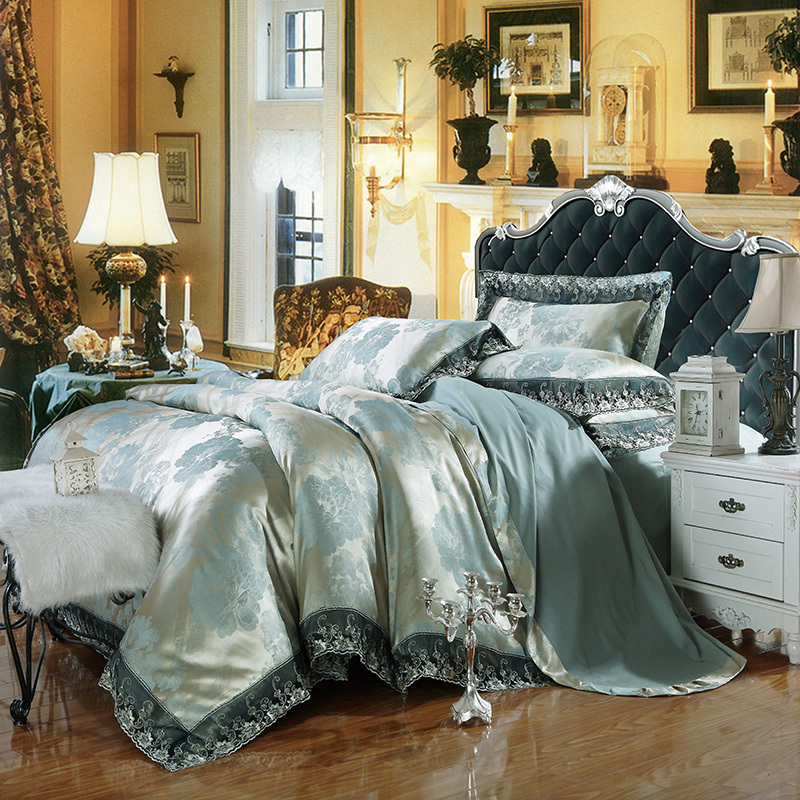 Bedding Set Jacquard Satin Silk 100 Cotton Bed Sheet Set