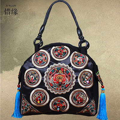 XIYUAN BRAND New arrival National wind original female hand bags lady linen Embroidered Beaded Cloth Shoulder Leisure Tassel bag 2016 summer mix color cloth art shoulder woman bag leisure packages exclusively for export national bag