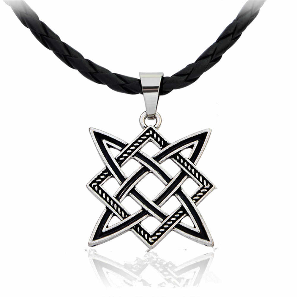 Slavic Pagan Amulet Statement Necklace Men Russian Square Star Pendant Kolovrat Slavic Choker Vintage Ethnic Talisman Necklaces