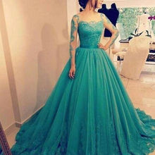 New Beautiful Green Prom Dresses Long Sleeve A line Tulle Evening Party Gowns For Women vestido