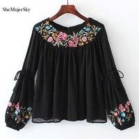 SheMujerSky Black Women Blouses Embroidery Floral Shirt Elegant Moda Feminina Long Sleeve Chiffon Shirts
