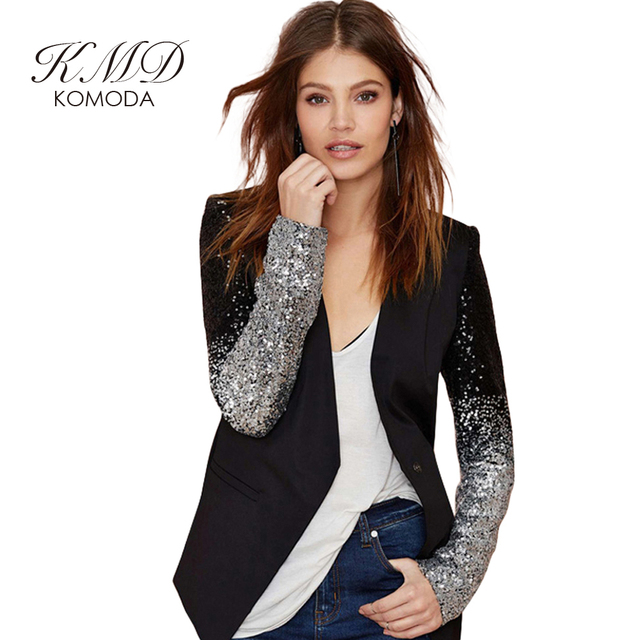 KMD KOMODA Sequined Blazers Women Black Long Sleeve Pu Basic Jacket Female Casual Elegant Vintage Jacket Coat Ladies