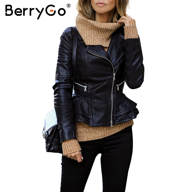 BerryGo Black PU faux leather jacket coat Casual zipper ...