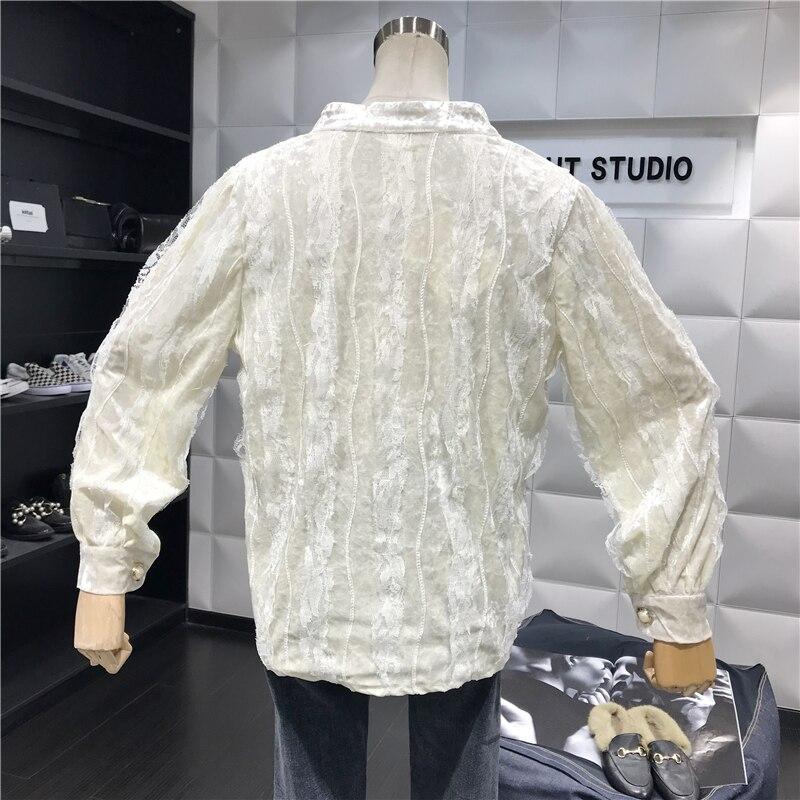 Elegante Primavera Terciopelo Las Botones Encaje Modis De 69882 grey Falso Único Breasted Blusa 2019 La Camisa Malla Mujeres Neploe Casual Black C6qBwvt
