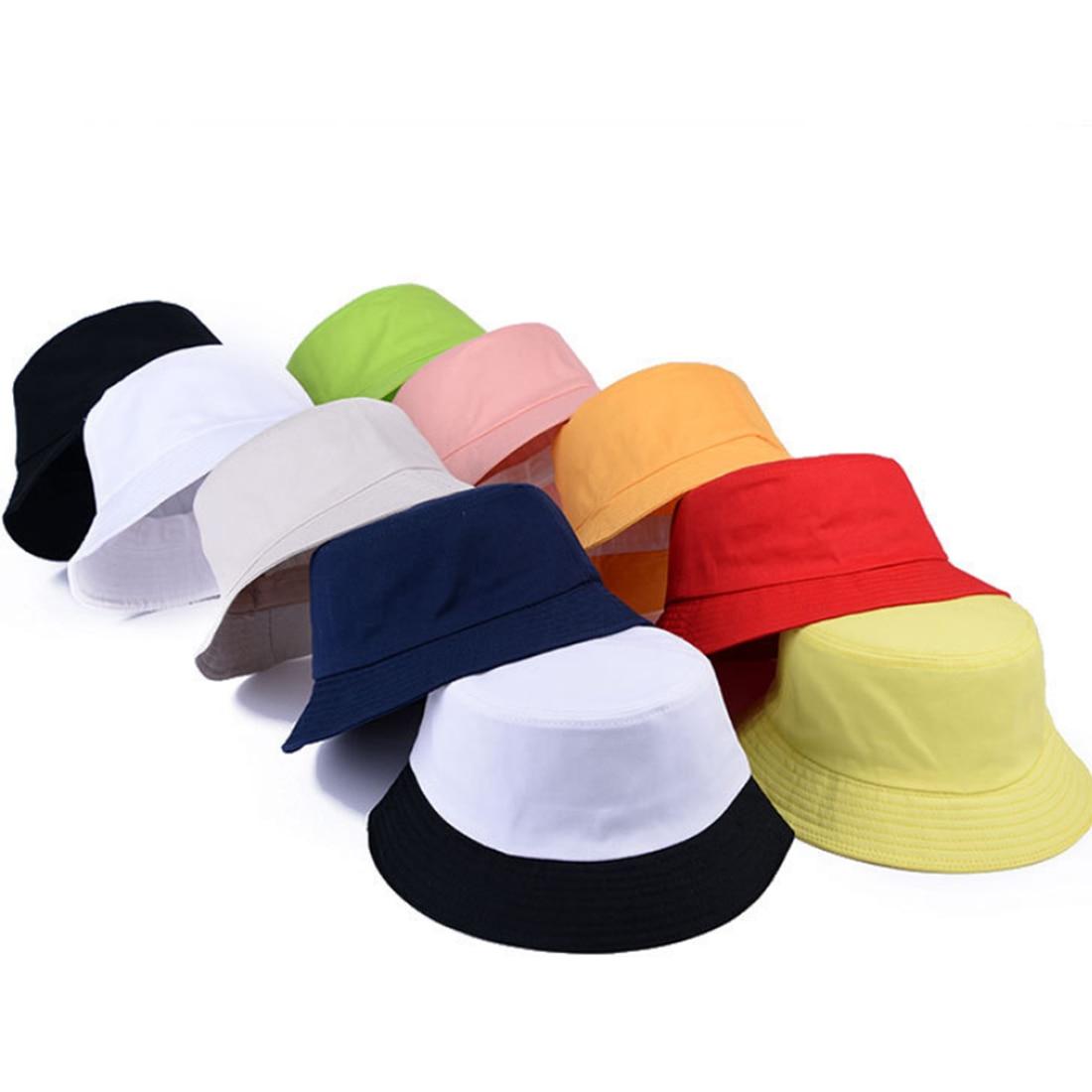 Korean jelly-colored Solid Color Bucket Hats for Men Panama Women Hat fisherman hat Street DIY portable basin hat tide visor ...