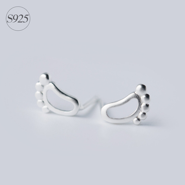 Miestilo Unusual Design Silver Baby Feet Footprint Stud Earring Simple Elegant 925 Sterling