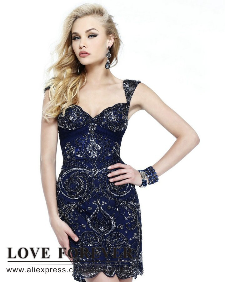 7584eadad1 Fully Beading Navy Blue White Pink Cap Sleeve White Formal Dresses Juniors Short  Cocktail Dress-in Cocktail Dresses from Weddings   Events on Aliexpress.com  ...