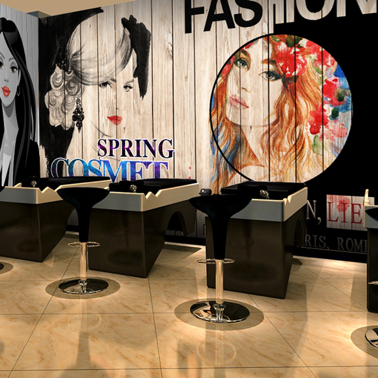 Custom 3d mural 3d personalized fashion hair salon Salon wallpaper