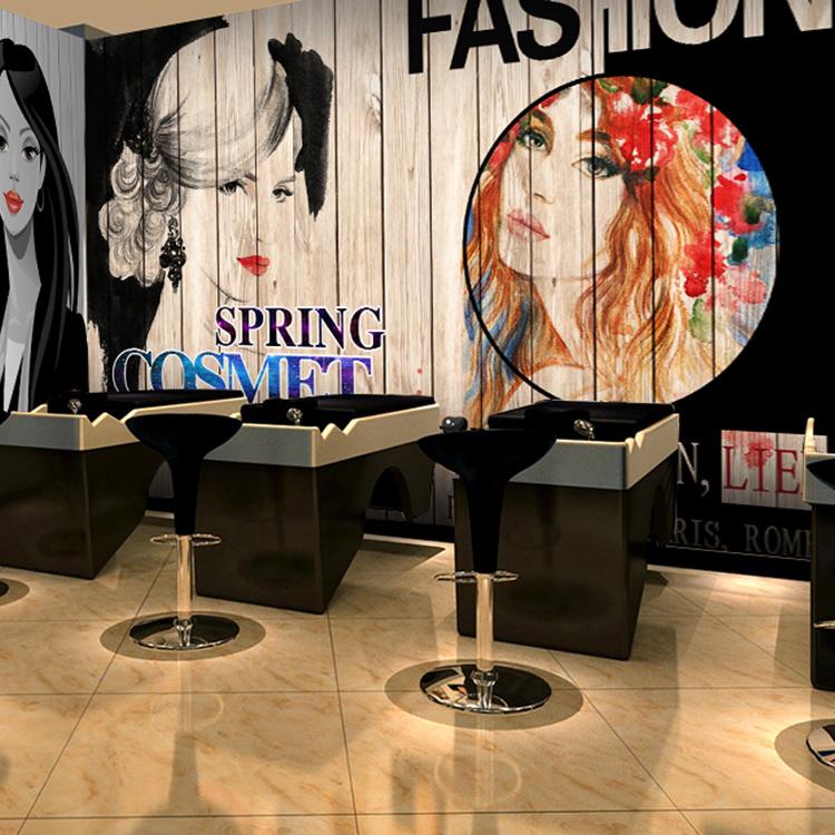 Awesome Salon De La 3D #4: Livraison Gratuite 3D Personnalisé De Mode Cheveux Salon Papier Peint Rétro  Graffiti Salon De Coiffure Beauté