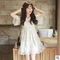 Vestido de verano 2015 nueva versión Coreana del Delgado vestido de encaje blanco de la cintura delgada sección larga del envío libre