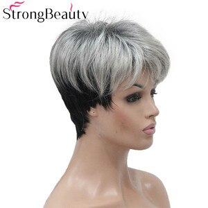 Image 3 - 強力な美容ショートグレー黒ウィッグ 2 トーン女性のかつらサイド掃引前髪人工毛
