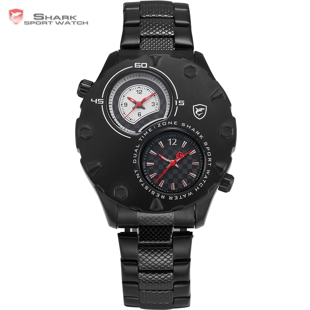 New Shark Sport Watch Relogio Masculino Dual Time zone Two Dial Black Stainless Steel Band Hours Bussiness Men Wristwatch/ SH295 weide popular brand new fashion digital led watch men waterproof sport watches man white dial stainless steel relogio masculino