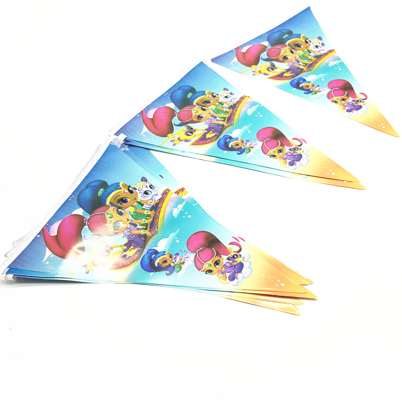 1pcs Shimmer Shine Party Flags Baby Shower Shimmer Shine Buntings