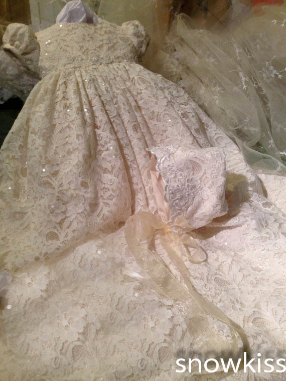 Sparkly Lace Sequins Baby Girls Boys Blessing Dresses With Bonnet ...