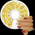 1 rueda top nail oro pequeña perla beads glitter rueda de uñas Herramientas de Manicura Consejos Para Los Encantos de la aleación 3D Nail Art Decoraciones KQH360