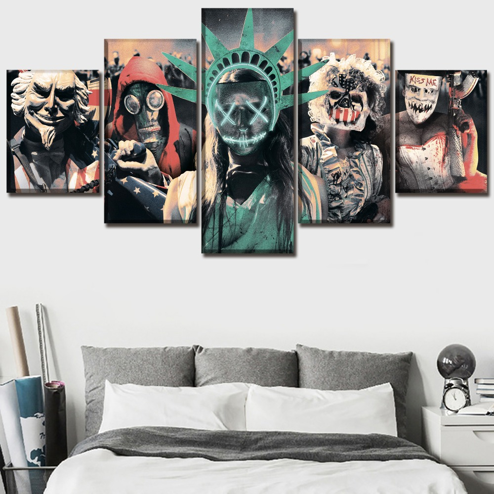 The Purge Election YearMovie HD Print Painting 5 Pieces Home The Wall Art Paintings on Canvas Wall Art Living Room Modern Decor
